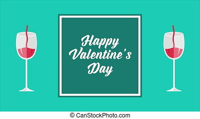 Happy Valentine day with animation of pouring drink in a glass collection