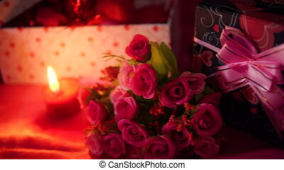 Happy Valentine day with gift boxes and bouquet flower...