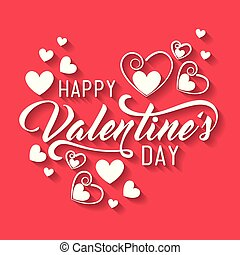 happy valentine day with hearts decoration