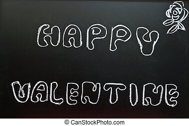 Happy valentine on a chalkboard