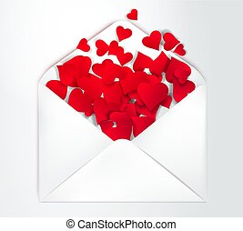 Happy Valentine s Day open Envelope with paper cut confetti Hearts Inside. Vector Illustration. Realistic Mail post Envelope.