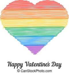 happy valentine s day with colored scribble heart