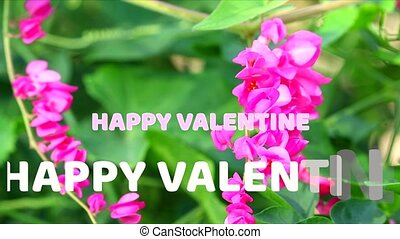 Happy Valentine text mark and creeper flower background