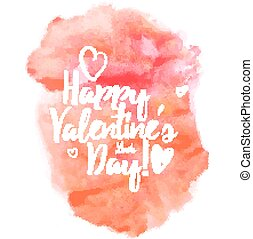 Happy Valentineday - Vector handwritten calligraphy on red...