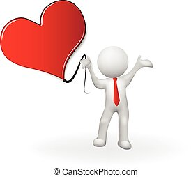 Happy valentines 3D man holding a heart love vector image logo