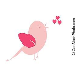 Happy Valentine's bird pink