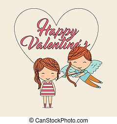 happy valentines-cupid with bow arrow and girl