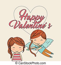 happy valentines cute girl and cupid with bow arrow love image