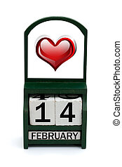 Happy Valentines Day - A wooden calendar with a date of...