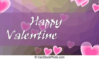 Happy Valentines day, animated inscription in grunge design. Letters written with chalk on purple background with flying pink hearts.