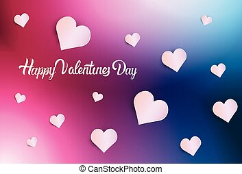 Happy Valentines Day Background, Greeting Card With White Hearts On Pink