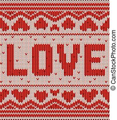 Happy Valentines day background, knitted pattern. vector illustration