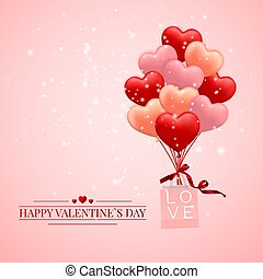 Happy Valentines Day background, red, pink and orange balloon in form of heart with bow and ribbon and Paper shopping bag. Vector illustration