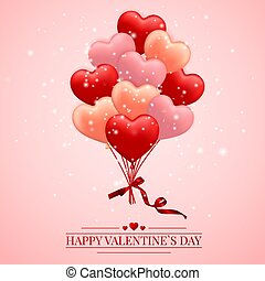 Happy Valentines Day background, red , pink and orange balloon in form of heart with bow and ribbon. Vector illustration