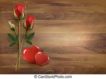 Happy Valentine's Day background. Rose with two hearts. Vector.