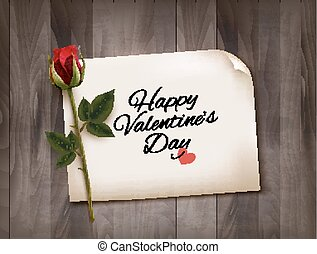 Happy Valentine's Day background with a note on a wooden...