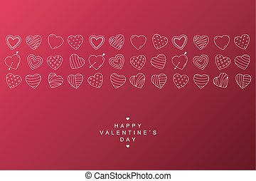 Happy valentines day background with creative doodle hearts. You can use it like poster or card