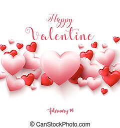 Happy valentines day background with hearts balloon isolated on white background