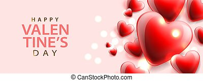 Happy Valentines Day, background with red hearts, horizontal banner, vector illustration