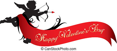 Happy valentines day banner - Cupid silhouette with red...