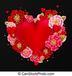 Happy Valentine's day banner with beautiful colorful flowers and