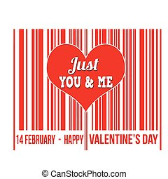 Happy Valentines Day barcode with heart inside