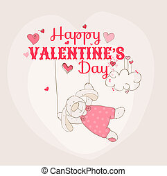 Happy Valentine's Day Card - Bunny Theme - for scrapbook and design in vector