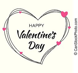 Happy Valentines Day card design. Heart silhouette from scribble lines and hand drawn lettering isolated on white background with pink hearts. Vector love Illustration of a Valentine's Day EPS10