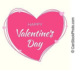 Happy Valentines Day card design. Pink heart silhouette from scribble lines and hand drawn lettering isolated on white background with pink hearts. Vector love Illustration of a Valentine's Day EPS10