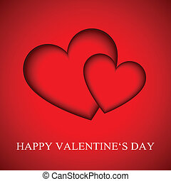 Happy Valentines day card, red vector illustration