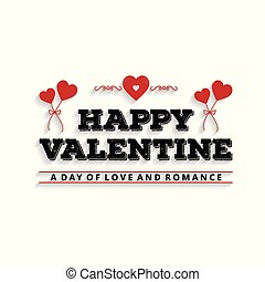 Happy Valentine's day card set typographic with white background