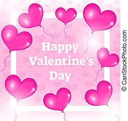 Happy Valentines day card, template, invitation with realistic 3d red balloons in the shape of heart. Vector illustration
