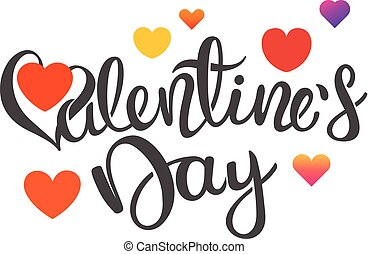 Happy Valentines Day card template with calligraphic inscription. Vector Illustration