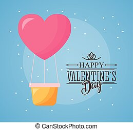 happy valentines day card with balloon air hot