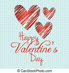 Happy Valentine's day card with blue pattern background