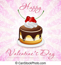 Happy Valentine's Day Card with Cake and Pink Background