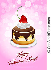 Happy Valentine's Day Card with Cake