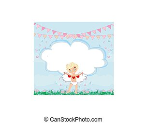 Happy valentines day - card with cupid