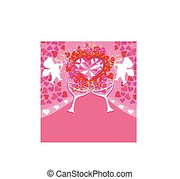 happy valentines day - card with cupids