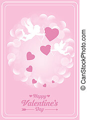 Happy valentines day card with cupids