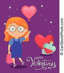 happy valentines day card with cute girl and decoration