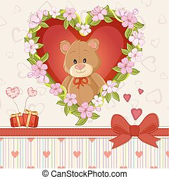 Happy Valentines day card with cute teddy bear and flower ...