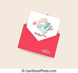 happy valentines day card with envelope bird