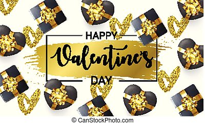 Happy Valentines Day card with Gift Boxes and gold glitter Hearts on white background. Black Heart in a shape of Gift Box. Hand drawn brush stroke.