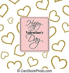 Happy Valentine's Day card with gold glitter textured hearts.