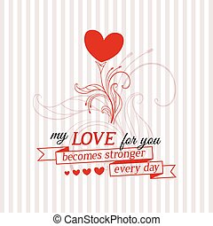 Happy Valentine's Day card with growing flower