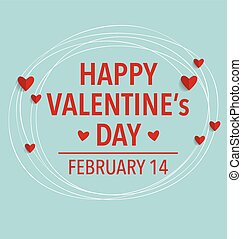 Happy Valentine's day card with heart. Vector illustration.