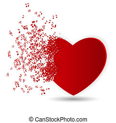 Happy Valentines Day Card with Heart, Music Notes. Vector...