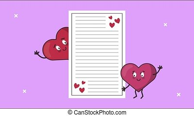 happy valentines day card with hearts couple and love letter