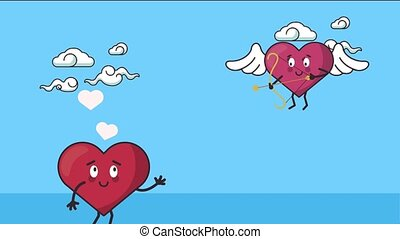 happy valentines day card with hearts couple flying ,4k video animated
